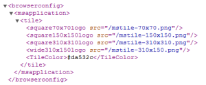 More browserconfig.xml, less HTML