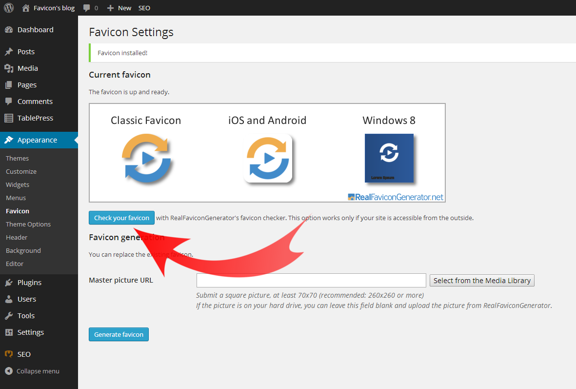 Check your favicon from your WordPress admin interface