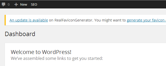 WordPress plugin favicon update notification