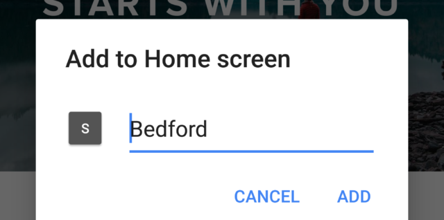 "Android default ""Add to home screen"""