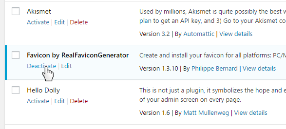 Why does the Favicon by RealFaviconGenerator WordPress plugin need to be activated all the time?